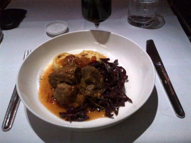 Casserole of Wild Boar Ragu with fondant Potato and Red Glazed Cabbage
