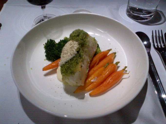 Herb Crusted Sea Bass with Roasted Baby Carrots, Boccoli and Aioli