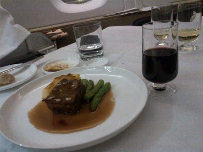 Seared Rangers Valley Skirt Steak and Potato and Leek Gratin, Asparagus and Horseradish